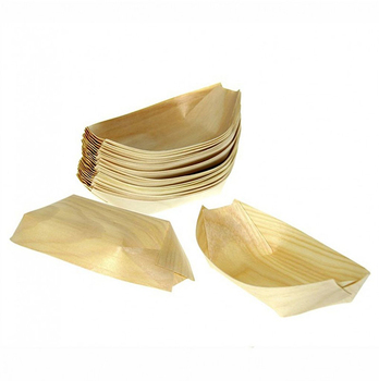Bamboo husk plate disposable wooden steak sushi boat plates