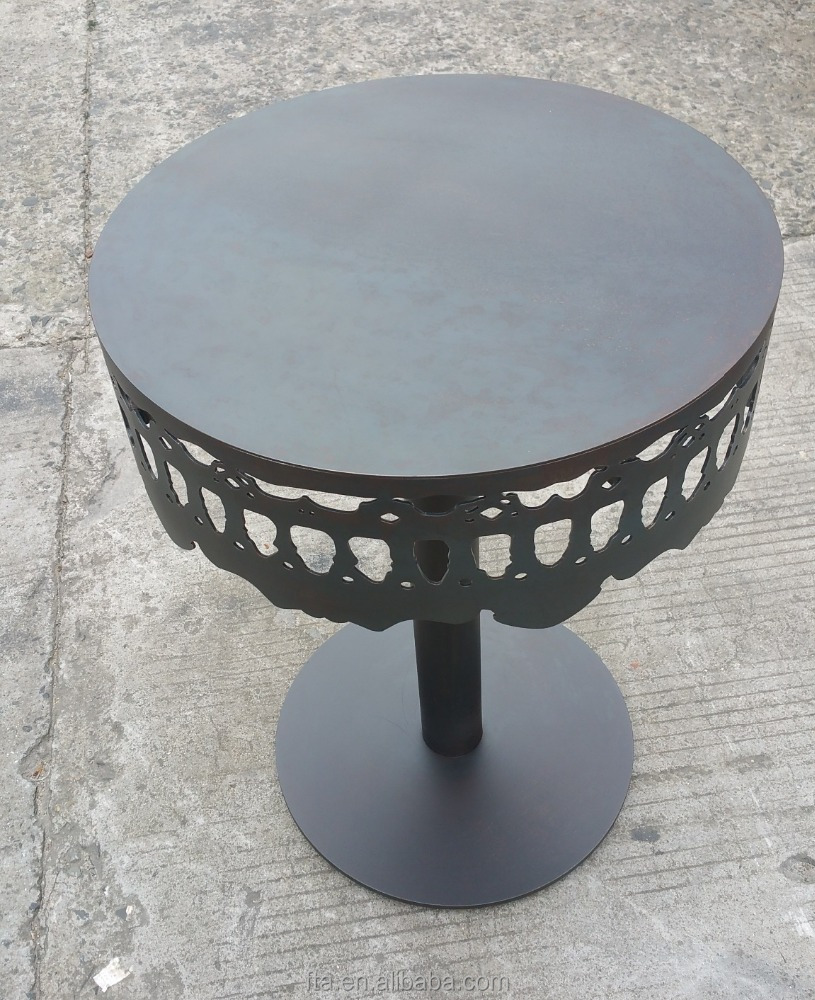living room industry style round hot rolled steel rusty table