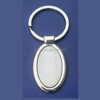 custom made promotional oval shaped blank metal keychains