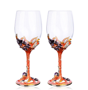 High quality unique Restaurant Red Wine Glass Cup With Red Stem