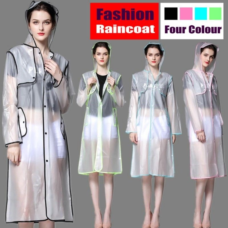 Fashion Frosted Transparent Women Raincoat Ladies Rainwear Hooded Long Rain coat