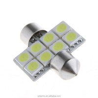 White 31mm 8 SMD 5050 LED Car Interior Festoon Dome Light Bulb
