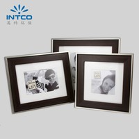 INTCO 083-B-779 Classic metal with wood color style plastic picture photo frame