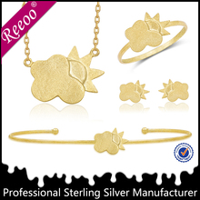 Newest style shine 925 sterling silver 18k solid gold jewelry