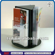 TSD-A600 Custom 3 sides roating desktop flyer display stand,acrylic magazine holder,acrylic brochure holder