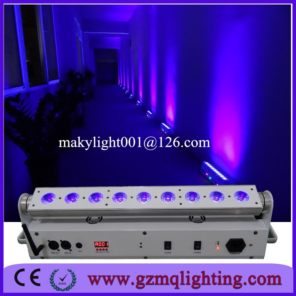 9x18W RGBWA+UV 6 colors battery operated wireless DMX led wall wash wedding uplight