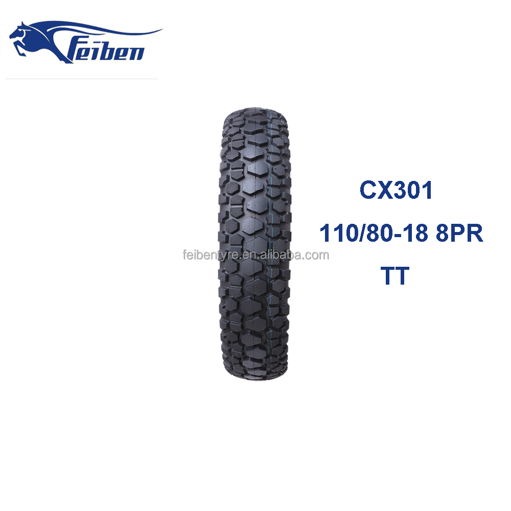FEIBEN BRAND NICE QUALITY CHEAP CHINA MOTORCYCLE ELECTRIC CX301 110/80 -18 OFF ROAD MOTORCYCLE TYRE