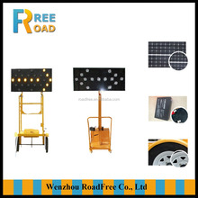 LED flashing solar mobile traffic sign with trailer outside