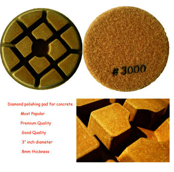 Resin bond diamond floor polishing pads for concrete