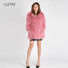 Real Knitted Raccoon Chinchilla Fur Coat Woman Long Style Black Pink Blue White 6 Colors For Sale Ladies Autumn Winter Jacket