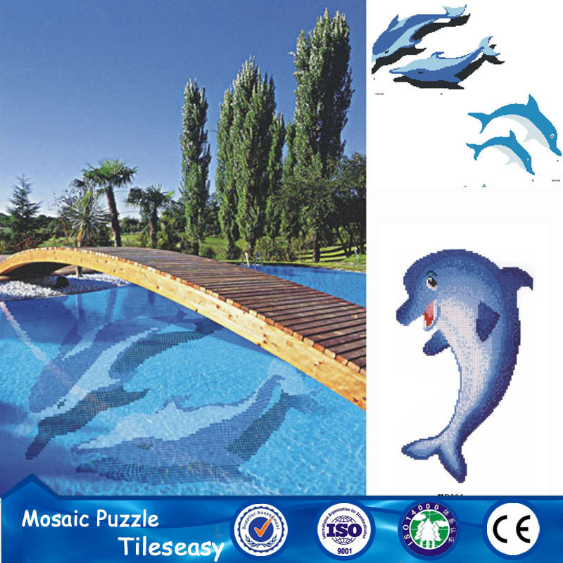 Custom dolphin pattern design swimming pool mosaic tile for Pool design pattern