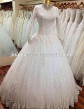 new real sample high neck long sleeves lace beaded islamic muslim bridal wedding gown #OW10
