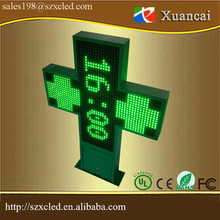 outdoor waterproof programmable green color cross pharmacy led sign