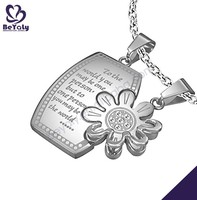 2015 flower shape steel or antique silver pendant necklace