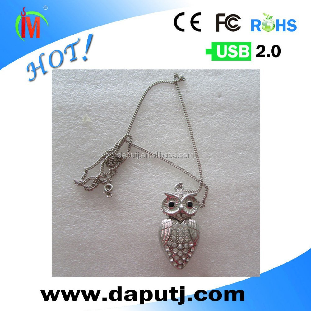 jewelry crystal usb flash drives 2.0 owl shaped with chain
