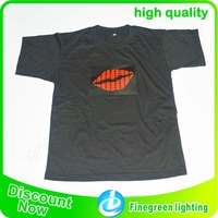 wireless sound activated el flashing t shirt with velcro