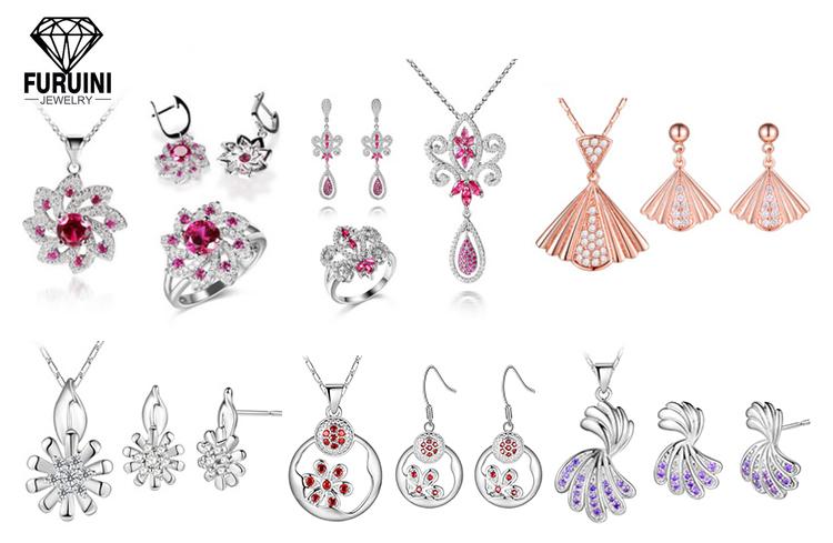 2018 fashion 스털링 풀 bridal 두바이 은 웨딩 jewellery designs jewelry set