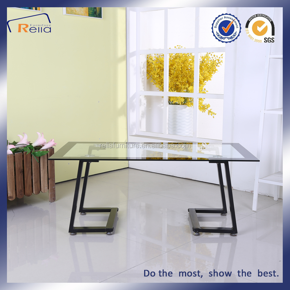 Tempered Glass Black Painting Coffee Table