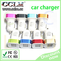 Hottest selling colorful dual USB car charger 2.1A 2.4A output for iPhone 6,promotional double 2 USB car charger adapter