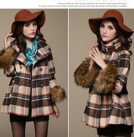 ladies vintage blend wool plaid winter coats with fake fur collar and cuff