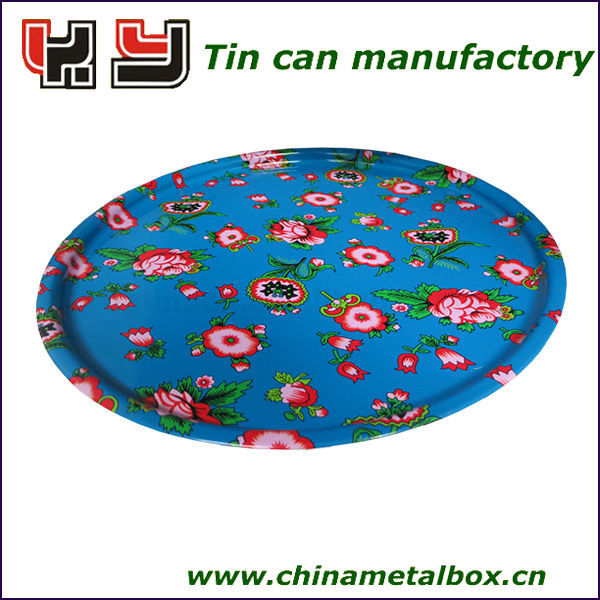 D345*H13mm Round Metal Tray, Tin Serving Tray