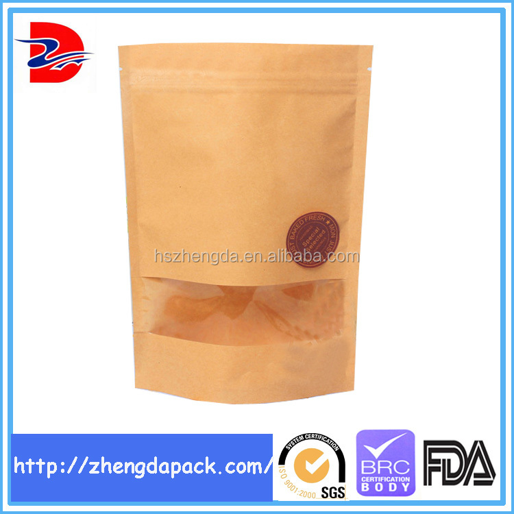 manufacturer price food brown kraft paper bag with zipper