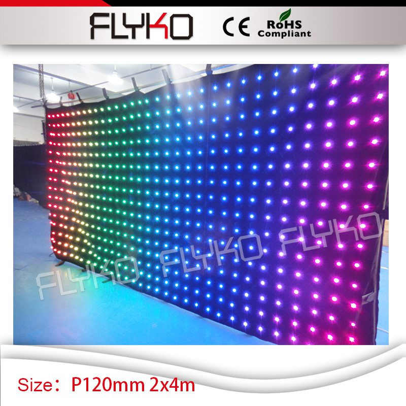 7ft by 14ft video/animation/graphic/flash/text message <strong>Display</strong> Function P120MM <strong>led</strong> curtain video