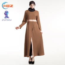 Zakiyyah E012 Elegant Arab Hijab Sex Picture Ethnic Long Sleeve V-neck Front Split Fork Women Dresses Islamic Kaftan Muslim