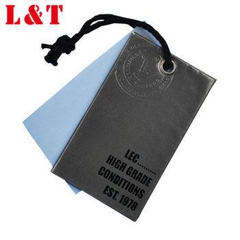 Embossed Kraft Hang Tags For Woman Jeans Clothing With Plastic Security Seal
