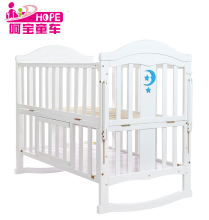 Solid wood pine material multi functional white baby swing crib bed