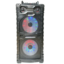 Hi-Fi woofer professional stage speaker double 15 inch plastic portable Disco light bluetooth active trolley speaker