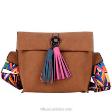 Fashion PU Women Nice Print Wider Crossbody Strap Creative Shoulder Bag With Colorfull Tassel