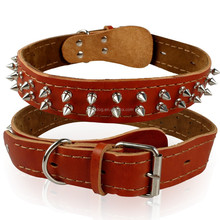 Real Leather Two Rows Studs Collar Brown Studded Genuine Leather Dog Collars