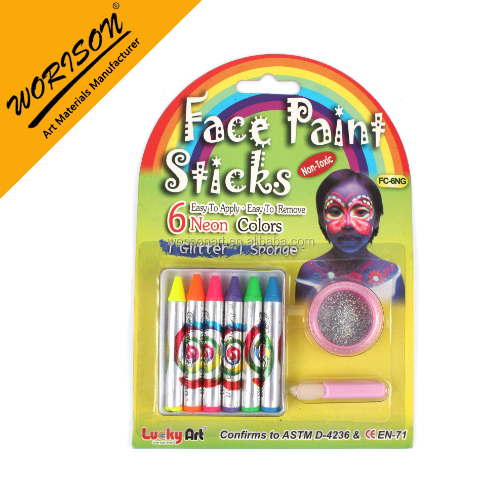6 pcs neon colors face paint body paint face deco Fluorescence paints stick