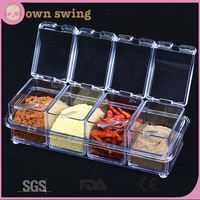 Clear Seasoning Rack Spice Pots/4 Piece Acrylic Seasoning Box - Storage Container Condiment Jars - Cruet with Cover and Spoon