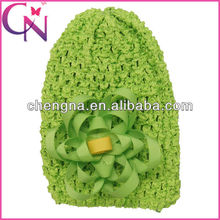 children crochet hat with curly ribbon hair bow CNHBW-13092424