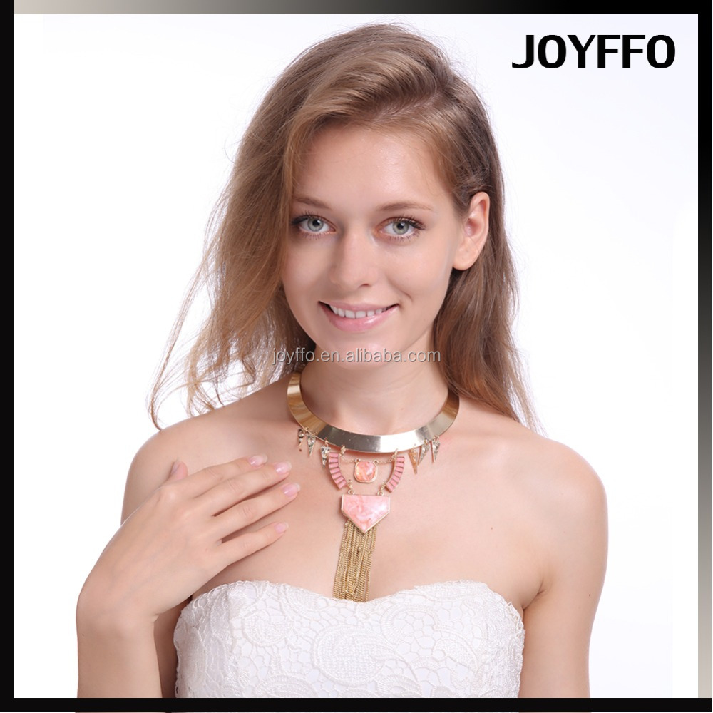 New Fashion Bohomia Choker Necklace Heavy Metal Tassel Pink Turquoise Heart Shape Pendant Statement Chunky Necklace