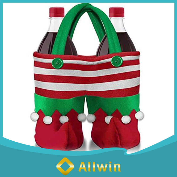 Christmas Holiday Tote Wine Bottle Santa Pants Gift Bags
