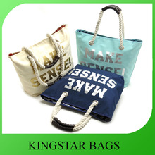 New Style Fashion Denim Tote Bag With Cotton Rope Handles