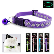 Christmas printing snowflake Nylon Webbing Cat Collar With Bell Plastic Buckle For Sale