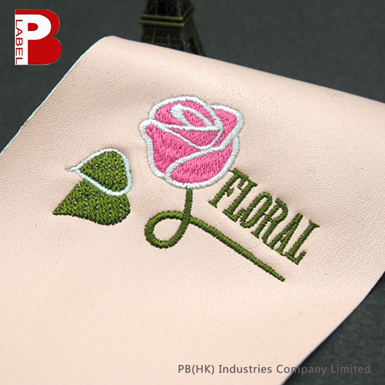 Delicate FLORAL Pink Rose Embroidered Leather Patches for Cell Phone Shells