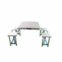 Lightweight Picnic Camping Table,Folding Table Chairs Set,Aluminum Portable Folding Table 4 seat