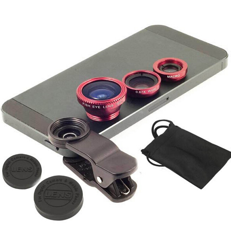 2016 New Arrival Mobile Phone Camera Extra Lens Fisheye Lens , 3 in 1 Zoom Lens for Mobile Phone