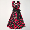 good quality low price women fashion vintage party dress with print Red cherry ladies party dresses stores wholesale