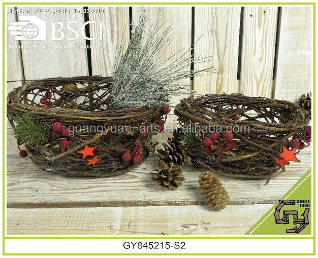 Lovely festival decorative winter style Christmas willow rattan basket