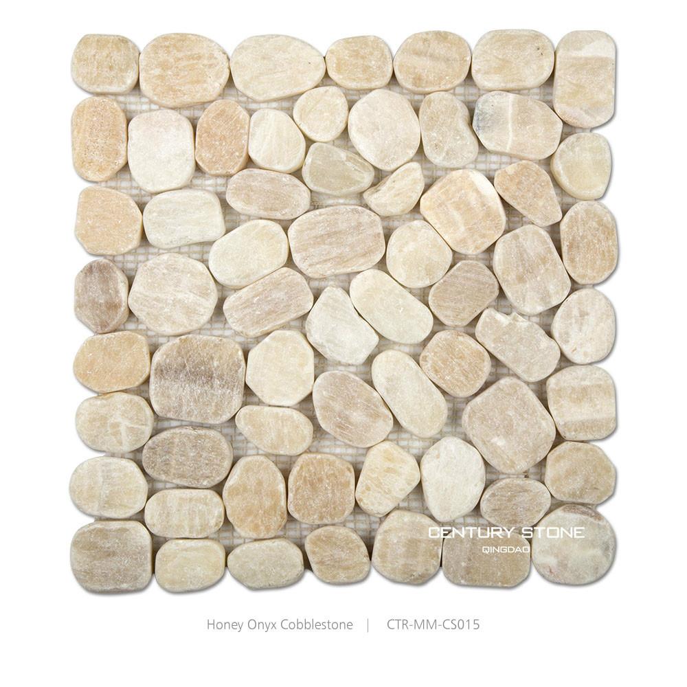 Cobble Stone Mosaics : Honey onyx sliced cobble stone mosaic tile buy