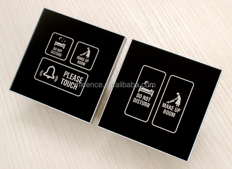 Silver frame black tempered glass Make Up Room Do Not Disturb Bell Switch