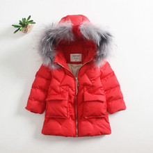 New children baby cotton padded coat real fur hooded pouch pocket jacket