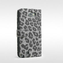 2013 New cell phone fashion design leopard wallet flip leather case for samsung galaxy note2 n7100