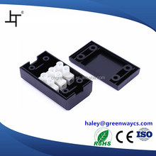 small plastic electrical cable junction box enclosure with terminal block